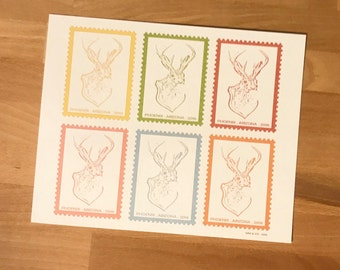 Jackalope Stamp Collage Art Print
