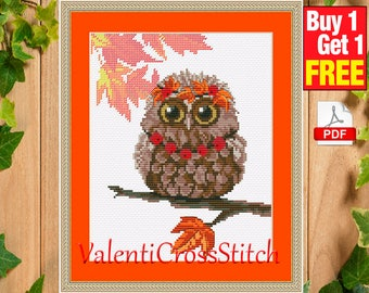 Owl Autumn Cross Stitch Pattern, Modern Cross Stitch, PDF, Instant Download, for beginner, easy pattern, #sp 122