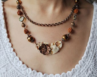 Cherry flower necklace with rudraksha, electroforming flower, woodland electroform, copper electroformed, wife gift