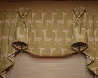 "BUNNY EARS Hidden Rod Pocket® Valance with jabots fits 32""- 44"" window, made using your fabric, my LABOR and lining"
