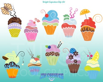 Bright Cute Cupcakes, Digital Realistic Clip Art,  Printable, Commercial, Chocolate, Birthday, Party, Celebration, Wedding, Educational