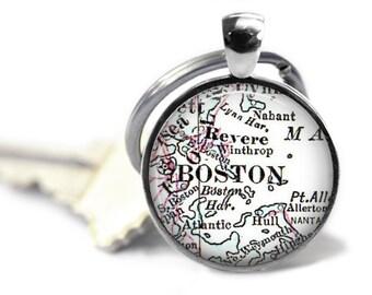 Boston Keychain, Custom Boston Map Key Chain, Customized Mens Keychain, Keychain for him, Husband Gift, Gift for men, Custom Keychain, A243