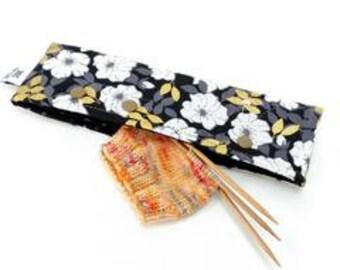 Needle Nook - DPN & Circular Needle Holder - Gold Leaf Floral