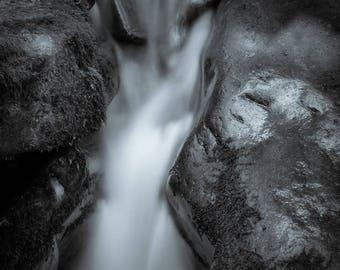 flow, 8x10 fine art black & white photograph, nature
