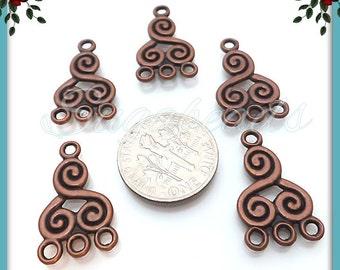 8 Antiqued Copper Spiral Connectors, Copper Chandelier Earring Findings 21mm, Copper Connectors, JC1