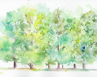 Watercolor Print, Trees, Landscape, Fine Art, Forest, Modern Art, Ink, Minimalist, Nature, Abstract Art, Bohemian