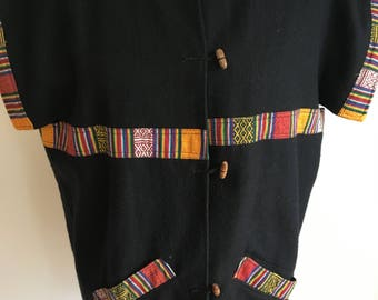 Vintage South American Wool jacket with aguayo decorative trim size small/medium