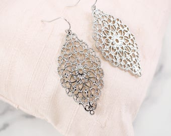 Silver Filigree Earrings, Chic Bohemian Filigree Dangle Earrings, Moroccan Earrings, Bridesmaid Earrings, Bridal Shower Gift-2018