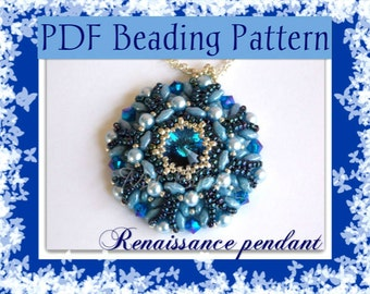 DIY Beading pattern Renaissance pendant with superDuo beads / PDF tutorial with detailed instructions, images and diagrams