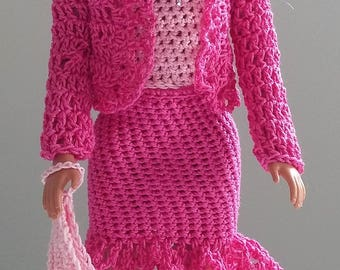 Barbie pink crocheted dress