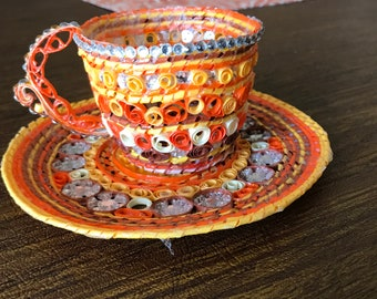 Handmade Paper Quilling Cup and Saucer