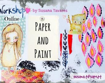 Paper and paint- Painting online Workshop, art class, journaling, mixed media art, creative workshop, painting dolls, collage