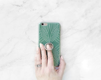 Boho Dot Phone Case with Ring Stand Grip for iPhone and Samsung Galaxy, Finger Holder, Seafoam Green and Silver for Spring, Summer