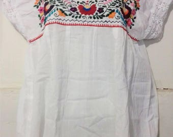 M-L Mexican blouse hand embroidered