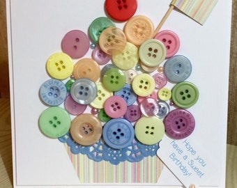Handmade Button Cupcake Birthday Card Multi