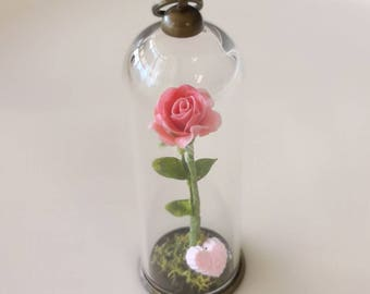 Pink Rose Bottle necklace. Glass bottle pendant. Cute Necklac.Christmas Gift