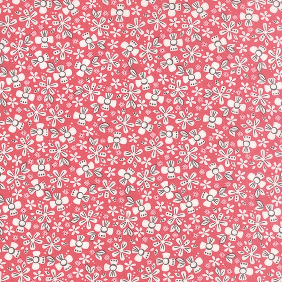 Corey Yoder Little Miss Shabby White Flowers on Cottage Pink With Dots and Leaves, 29002-16,