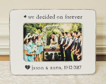 We decided on forever Engagement Gift idea Personalized Engagement picture Frame Bridal shower bride to be Wedding Gift