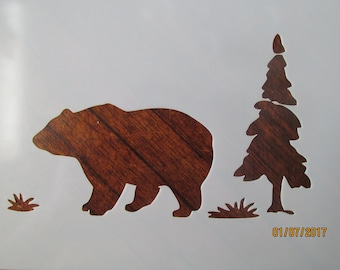 Bear in Woods Stencil Reusable 10 mil Mylar Stencil