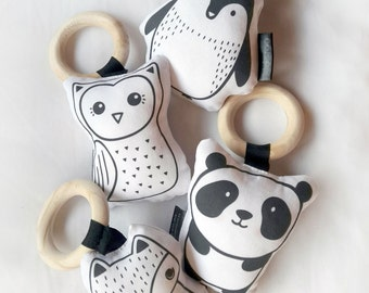 Animal Baby Soft Rattle Toy Set - Baby Softie - Monochrome Baby Toy - 4PC Teething Toy - Wooden Ring Teether