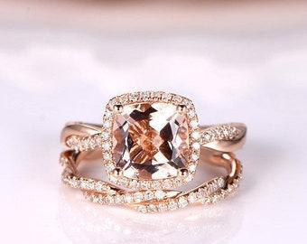 Morganite Ring Set Rose Gold Morganite Engagement Ring Twist Infinity Wedding Band 8mm Cushion Cut Pink Gemstone Bridal Set 14K 2PCS