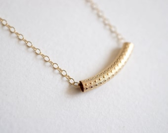 Gold Patterned Bar Necklace with 14K Gold-fill Necklace Chain (Sierra) // Gifts for her // Minimalist jewelry //