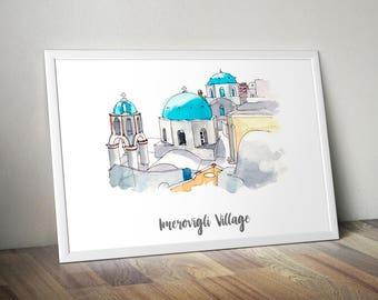Imerovigli Village Print, Monument Poster, Art Print, Wall Art, Watercolor Painted Monument