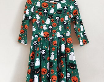 Halloween 3/4 Sleeve Fit and Flare Dress - Size S-3X - Ghost Skeleton Pumpkin Candy Corn