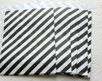 Black and White Striped Paper Bag- Gift Bag, Notion Bag, Party Favor, Party Supply, Shop Supply, Treat Bag, Merchandise Bags