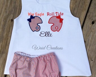 College Football 'House Divided' baby, toddler girl A-Line dress and bloomers