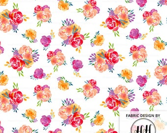 Spring Floral Fabric By The Yard / Watercolor Florals Fabric / Warm Modern Bouquet Fabric / Spring Pop Flower Print in Yards & Fat Quarter