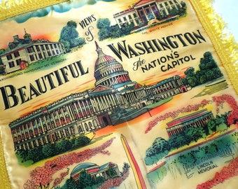 Vintage Washington Souvenir Pillowcase, Collectible State Memorabilia, Pillow Cover or Sham w Fringe, Vintage Linens