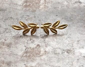 Gold Olive Leaves Earrings, Olive Twig Stud Earrings, Elegant Olive Branch  Delicate Earrings, Greek Goddess Athena Symbol, Greek Jewelry