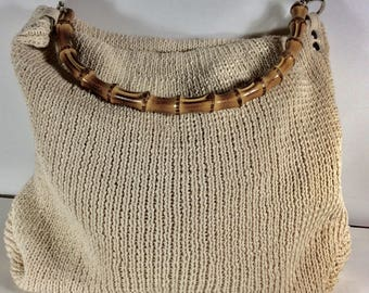 Vintage Eximious of London made in Italy knit bamboo handle handbag.