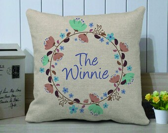 Personalized Decorative Family Pillow Cover,Custom Wedding Pillow Case With Wreath,Wedding Anniversary Gift,Floral Pillow,Mother's Day Gift