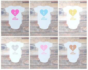 Personalised Baby Girls First 1st Birthday White Vest Bodysuit One Heart Name Print Cake Smash