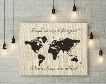 Grandparent Gift | Grandparents Art | Rustic Home Decor | World Map Canvas | Christmas Gift For Grandma | Grandma Birthday Gifts - 56277