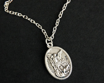 necklace st pendant with michael medal chain army