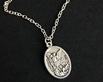 necklace medal ebay bhp saint st michael mi prayer wing archangel protection pendant angel