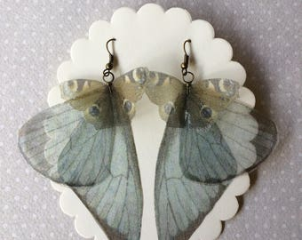 Handmade Silk Organza Vanessa (Inachis Io) Butterflies and Wings Earrings