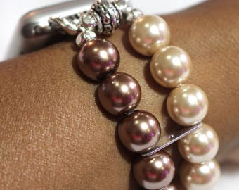 Apple Watch Band, Brown and Beige Pearl Apple Watch Band Bracelet, Pearl Apple Watch Band, Brown Apple Watch Band