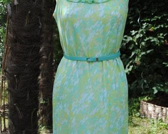 Dress 1960 / pastels colors /green an blue