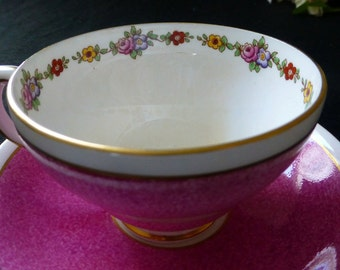 Beautiful Pink Adderley Lawley England Fine Bone China Porcelain Teacup and Saucer Transfer Floral Internal Decorative Band, Gilt Detailing