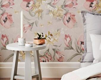 Poppy Pattern Wallpaper, Removable Wallpaper, Poppy Wallpaper, Poppy Wall Sticker, Poppy Wall Decal, Poppy Pttern Adhesive Wallpaper, 038