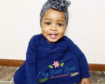 Lacey Grey Fabric, baby turban. Grey turban, toddler turban