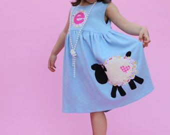 Easter Dress, Girl's Easter Dress, Toddler Easter Dress, Personalized Dress with Lamb Applique- You Choose Dress Color and Sleeve Length