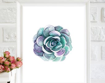 Succulent Print, Succulent Printable, Succulent Art decor, Succulent wall art, Botanical wall art, watercolor Succulent, Succulent Paintings