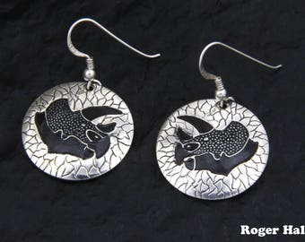 Triceratops Dinosaur Earrings, Sterling Silver