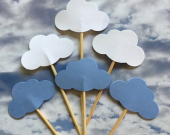 30 PCS CLOUDs - Party Picks, Cupcake Toppers, Food Picks, Toothpicks, Bridal, Birthdays