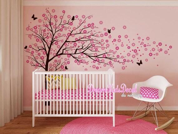 kirschbl ten baum aufkleber wand wandbilder baby m dchen. Black Bedroom Furniture Sets. Home Design Ideas